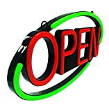 MaxLit 22.5'' x 11'' New Ultra Bright Oval LED Neon Sign - Open - Remote Controlled (Green/Red)