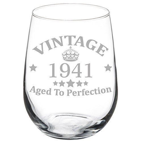 Wine Glass Goblet 76th Birthday Vintage Aged To Perfection 1941 (11 oz Stemless)