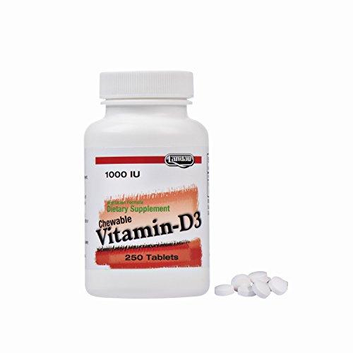 Landau Vitamin D3 Chewable Cherry Flavor Vitamins, 1,000 IU, Certified Kosher, 250 Tablets