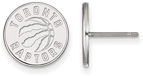 14K White Gold NBA Toronto Raptors Small Post Earrings by LogoArt