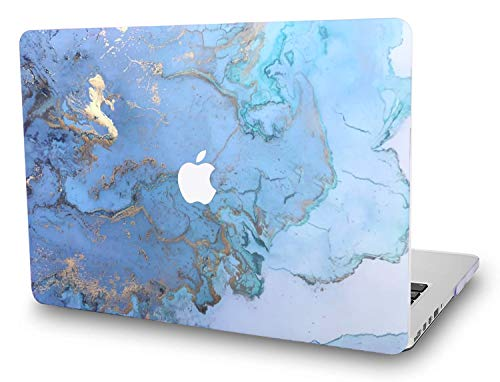 Embossed Cd Case - Apple MacBook Pro Oldest 13 Inch Case with CD Drive (Released in 2009~2011) Model: A1278 - L2W Plastic Printed Protective Hard Embossed on Pattern Cover, Marble Design Blue