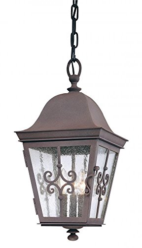 (Troy Lighting Markham 3-Light Outdoor Pendant - Weathered Bronze Finish with Clear Seeded Glass)