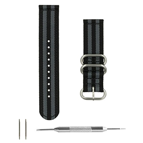 20 Heart Rate Monitor Watch (Benchmark Straps 20mm Black & Gray Striped Ballistic Nylon 2-Piece Zulu Watchband + Spring Bar Removal Tool)