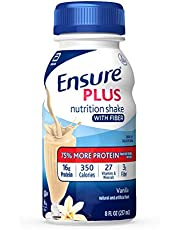 Ensure Plus Nutrition Shake With Fiber, 13g High-quality Protein, Meal Replacement Shakes, Vanilla, 8 Fl Oz, 24Count
