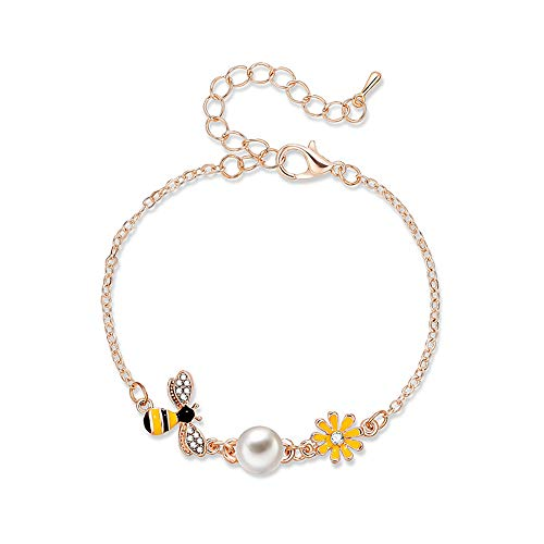 Eiffy CZ Crystal Yellow Honey Bumble Bee Sunflower Bracelets Bangles for Women Coconut Palm Trees Watermelon Bracelet Jewelry (Bee)