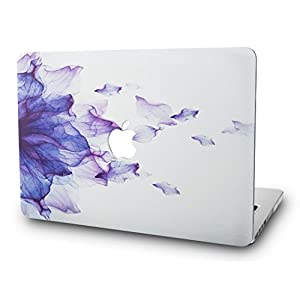 KEC MacBook Pro 13 Case 2017 & 2016 Plastic Hard Shell Cover A1706 / A1708 with/without Touch Bar (Purple Flower)