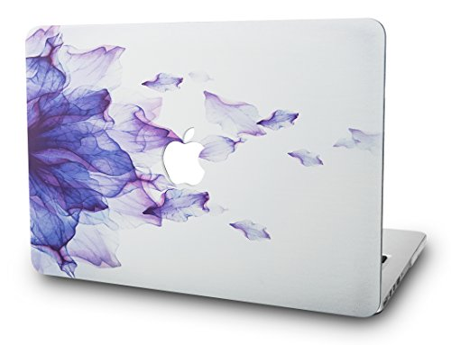 KEC MacBook Pro Retina 13 Inch Case (2015 old gen.) Plastic Hard Shell Cover A1502 / A1425 (Purple Flower)
