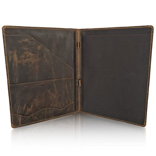LEATHER PORTFOLIO Resume Folder Professional Padfolio - LARGE Document Organizer 10x14 Inches, Folio for Legal-Sized/A4 Writing Pad with Business Card Holder, Portfolios For Men & Women (Dark Brown)