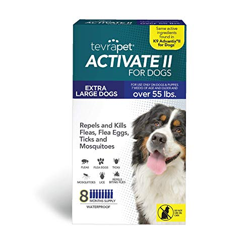 TevraPet Activate II Flea and Tick Prevention for Dogs   All Dog Sizes   8 Months Supply   Medicine for Treatment and Control   Topical Drops (X-Large 55+ lbs)