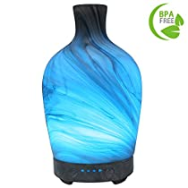COOSA 100ml Essential Oils Diffuser Glass Marble Pattern Cool Mist Humidifier with 4 Time Setting 7 LED Colorful Light Waterless Auto-Off Aroma Diffuser for Home Office Bedroom Holiday Gift