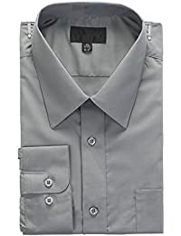 Men Dress Shirts Slim Fit Solid Point Collar Formal Business Wedding Cocktail Prom Party Evening Clothing