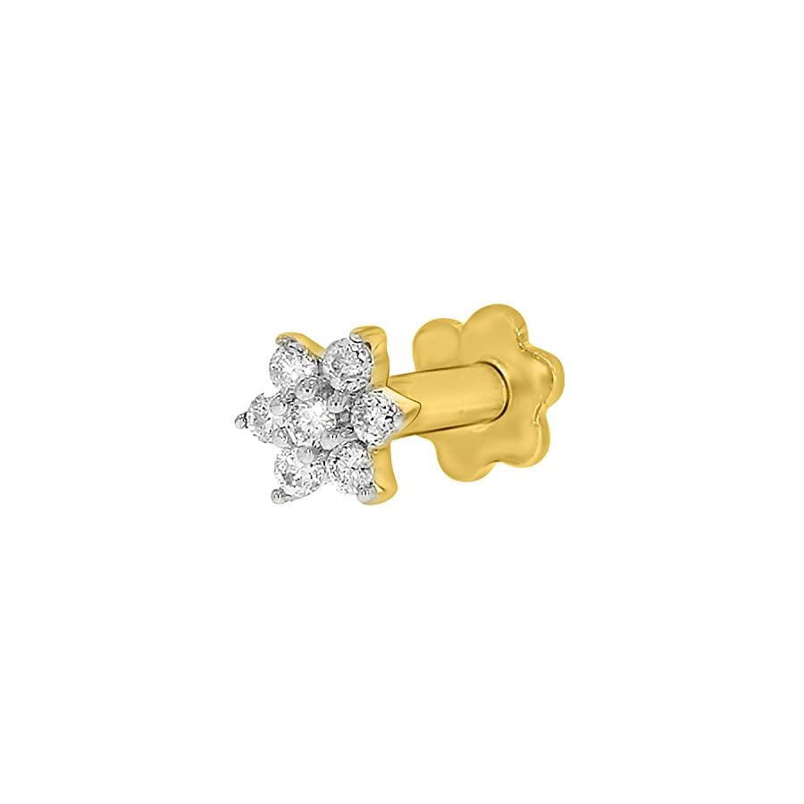 Diamond Flower Nose Piercing Pin Screw Ring Stud 4.25mm 14k Yellow Gold 19 Guage (GHColor/I1 I2Clarity)
