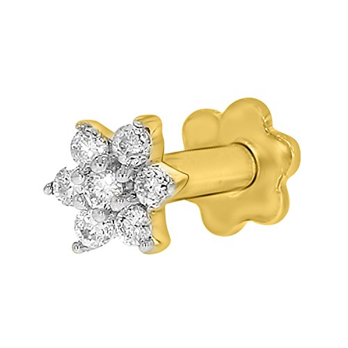 Diamond Flower Nose Piercing Pin Screw Ring Stud 4.25mm 14k Yellow Gold 19 Guage (GHColor/I1-I2Clarity) (Diamond Real Bone Nose)