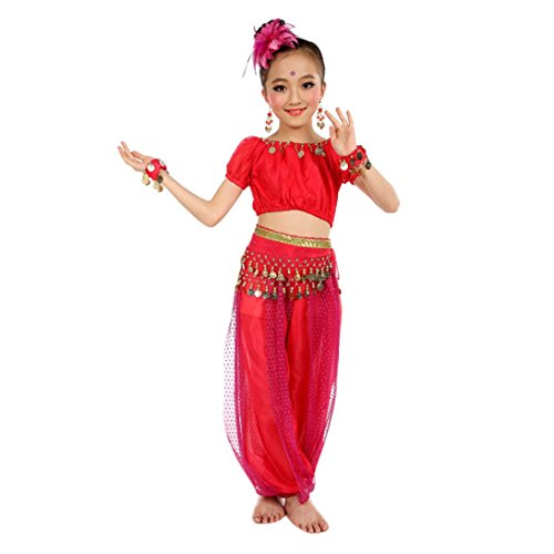 [2 PCS/ Set Toraway Children Girl Costumes Kids Belly Dancing Egypt Dance Cloth Tops+ Pants Outfit set (X-Large, Hot Pink)] (Baby Hot Dog Costume Pattern)