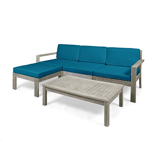 Isabella Ana Outdoor 3 Seater Acacia Wood Sofa Sectional with Cushions (Wire Brushed Light Gray Wash, Dark Teal)