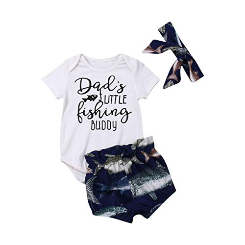 (Newborn Infant Baby Girls Boys Daddy's Fishing Buddy Romper Bodysuit Fish Pants Hat 3Pcs Summer Outfit (6-12M, E))