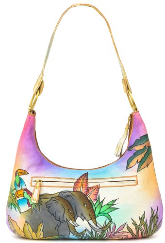 ZIMBELMANN MICHAELA Genuine Nappa Leather Hand-painted Hobo Shoulder Bag Purse by Zimbelmann (Image #3)