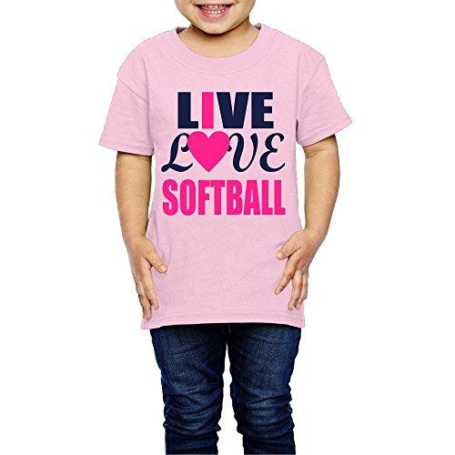 Live Love Softball Crew Neck Short Sleeve Tee Shirt 2-6 Toddler ()