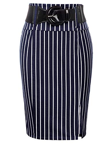 Women Wear to Work Knee Length Pencil Skirts with Belt Plus Size, Navy Stripe, XX-Large