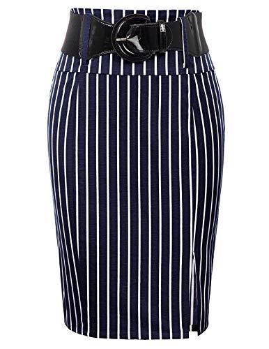 Women Vintage Pencil Skirt High Waist Bodycon Skirt,Navy Stripe, Small ()