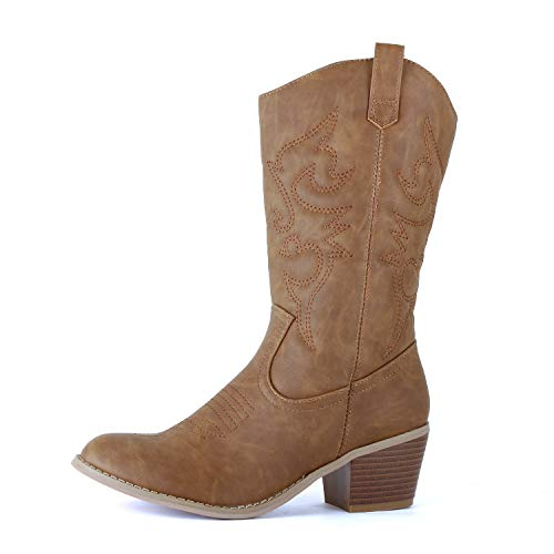 Chestnut Brown Boots - West Blvd - Womens Miami Cowboy Western Boots (5.5 B(M) US, Chestnut Pu)