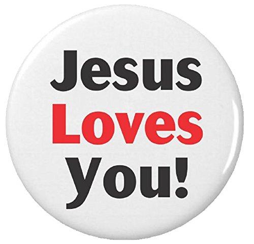 "Button Pinback Love (Jesus Loves You! 1.25"" Pinback Button Pin Christian Faith Church)"
