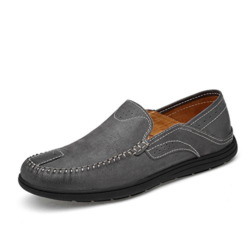 Mocassini Mocassino Scarpe Mocassini Vamp gomma on in Patch uomo morbida Shufang Color Slip da da Casual shoes Mocassini Gray Hollwo Da Dimensione barca Guida 47 Suola 2018 da Grigio Uomo EU OYOq85wT