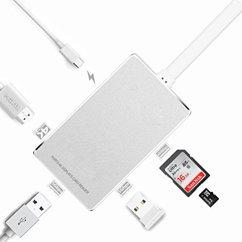 LUJII 6 in 1 USB 3.1 Type C Hub with HDMI 4K Output USB C Hub with Power Delivery for Charging 2 Ports USB 3.0 SD/SDHC Card Reader Micro SD Card Reader for Macbook/ChromeBook Pixel ,Silver by LUJII