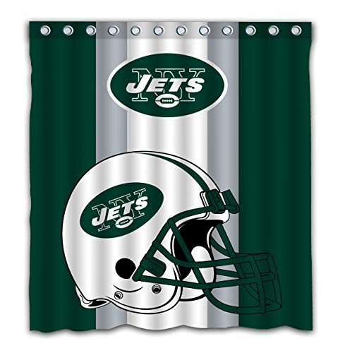 Potteroy New York Jets Team Simple Design Shower Curtain Waterproof Mildew Proof Polyester Fabric 66x72 ()