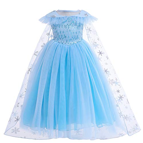Sneeuwkoningin prinses Elsa jurk kostuum pailletten jurk met sneeuwmantel cosplay Halloween verjaardag party jurk fancy…