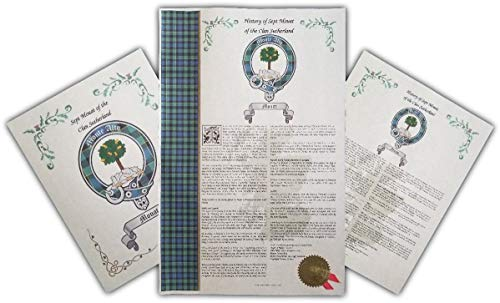 Kearen Scottish Clan & Sept 3 Print Combo, Last Name History, Tartan, Buckle & Crest from Mr Sweets