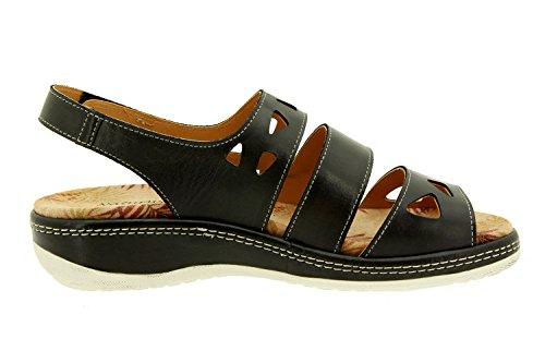 Komfort Damenlederschuh Piesanto 8907 sandale klettverschluss  herausnehmbaren einlegesohlen bequem breit Schwarz ...