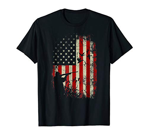 Duck Hunter American Flag USA Hunting T Shirt gift for Men