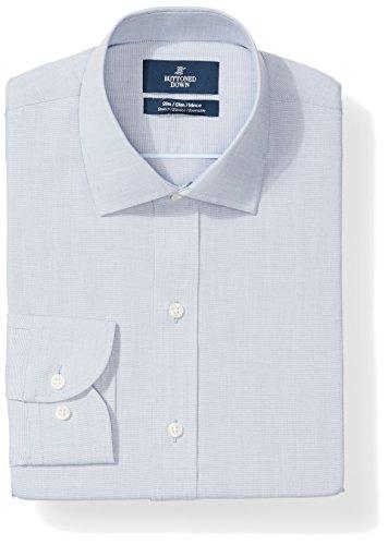 (BUTTONED DOWN Men's Slim Fit Stretch Poplin Non-Iron Dress Shirt, Chambray Blue, 16.5