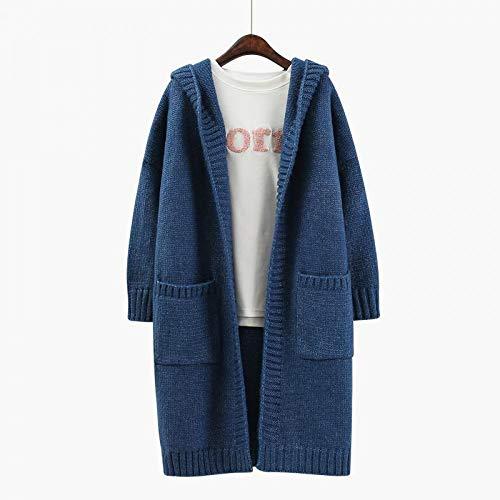 autumn Women's sweater coat pocket long long loose hooded cardigan XCXKA coat spring Fqw7xgwU
