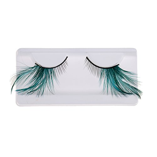 MagiDeal Fashion Feather False Eyelashes Fancy Dress Fake Halloween Make-up - Green ()