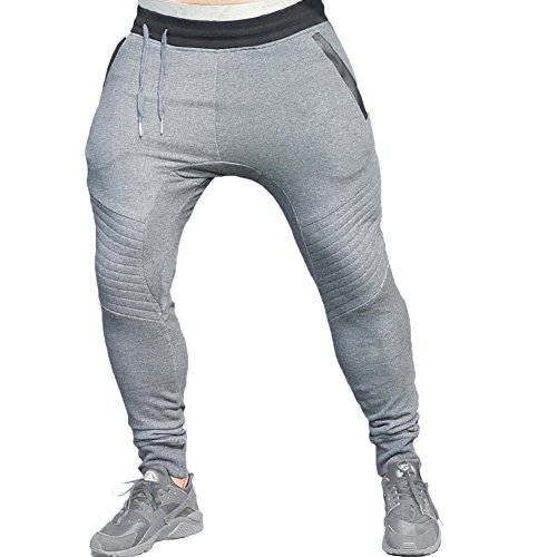 Mech-Eng Men's Joggers Pants Gym Workout Running Trousers Zipper Pockes(Dark Grey L/Tag 2XL)