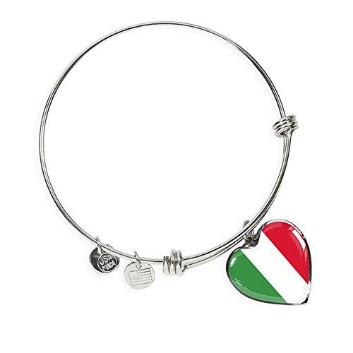 P.S. I Love Italy Italian Flag with Heart Charm Bangle - Great Italian Themed Jewelry Gift - Shatterproof Glass Bangle on Surgical Steel Fashion Bracelet