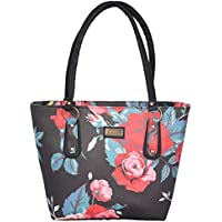PUSOULS Black Rose Multicolour Printed PU Leather Women Shoulder Bag