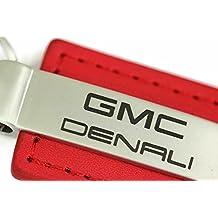 GMC Denali Leather Key Chain Red Rectangular Key Ring Fob Lanyard