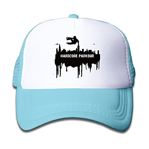 Kids Two Tone Hardcore Parkour Race Extreme Sport Adjustable Mesh Trucker Caps SkyBlue