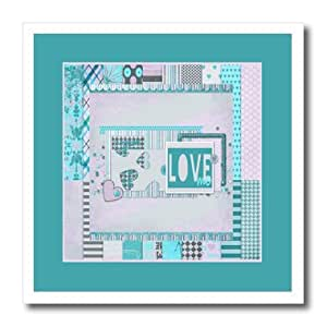 ht_173143_3 Beverly Turner Valentine Design - Love Heart Art Collage, Aqua Green and Pink - Iron on Heat Transfers - 10x10 Iron on Heat Transfer for White Material