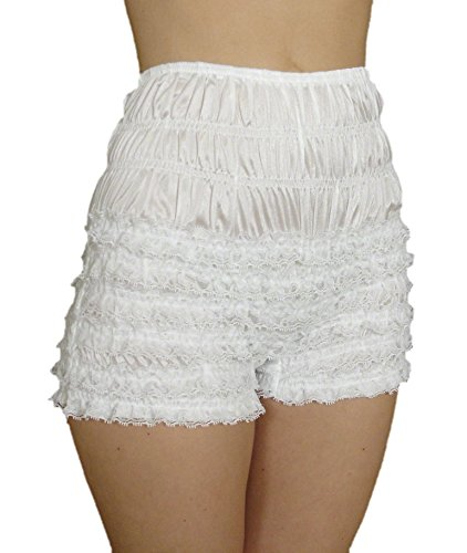 Malco Modes Womens Sexy Ruffle Panties Tanga Dance Bloomers Sissy Booty Shorts (X-Large, White)