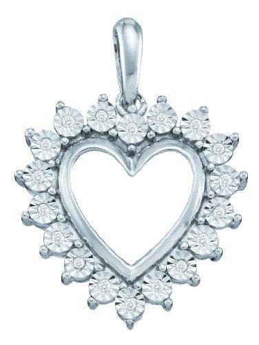 10K Or Blanc Diamant 0,05DWT Rough Pendentif Coeur-Or de qualité plus élevé que or 9carats