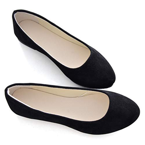 Stunner Women Cute Slip-On Ballet Shoes Soft Solid Classic Pointed Toe Flats by Black 42