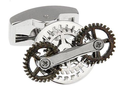 MRCUFF Steampunk Gears Spinning Pair Cufflinks in a Presentation Gift Box & Polishing Cloth