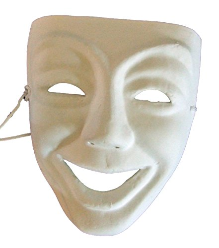 Art World Halloween Costumes (Blank Unpainted Comedy Venetian Mask Masquerade Halloween Costume Drama Project Arts)