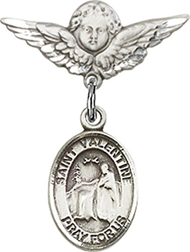 Sterling Silver Baby Badge Cherub Angel Pin with Saint Valentine of Rome Charm, 3/4 Inch