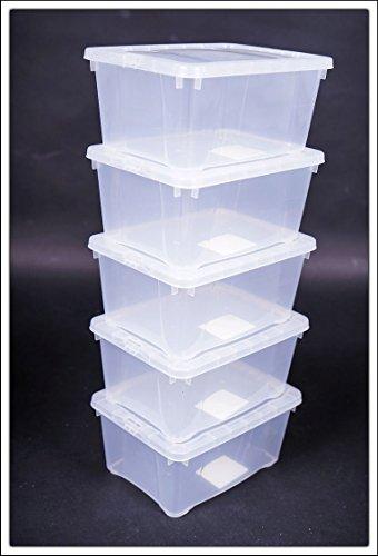 Klarsichtbox mit Deckel - 3 Größen - 3er und 5er Sets (33x20x11 - 5er Set)