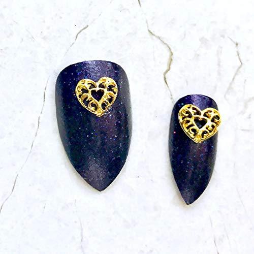 3d Filigree - RoseWhiteLime Nail Charms - 10 Pcs Gold Filigree Heart Nail Charms, 3D Nail Art, Nail Decorations